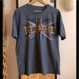 Def Leppard Union Jack band tour tee shirt